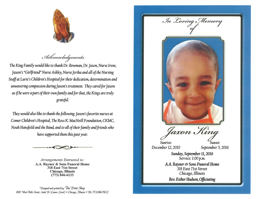 Jaxon King Obituary | AA Rayner and Sons Funeral Home