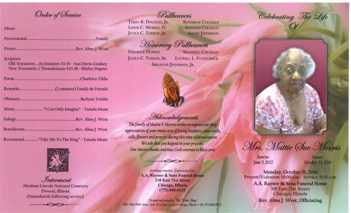 Mrs Mattie Sue Morris Obituary Funeral Services At AA Rayner and Sons Funeral Home in Chicago Illinois