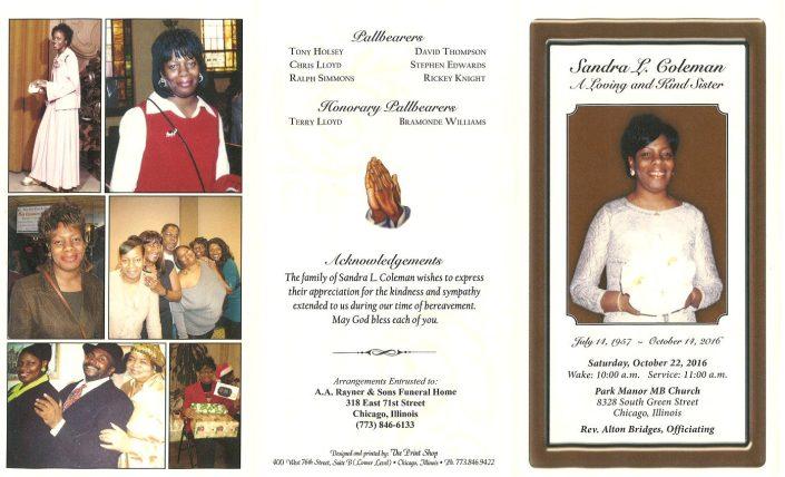 Sandra L Coleman Obituary