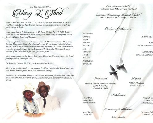Mary L Shed Obituary From Funeral Services at AA Rayner and Sons funeral Home in Chicago Illinois