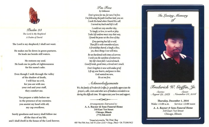 Frederick W Griffin Jr Obituary