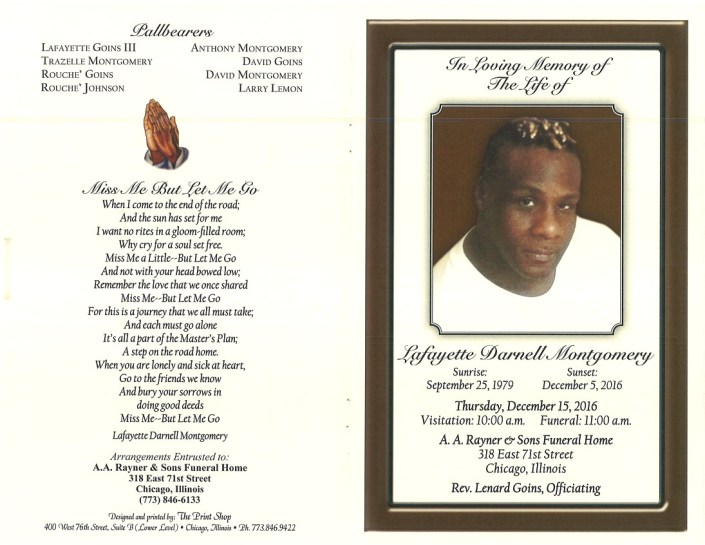 Lafayette Darnell Montgomery Obituary Funeral Services at AA rayner and sons funeral Home