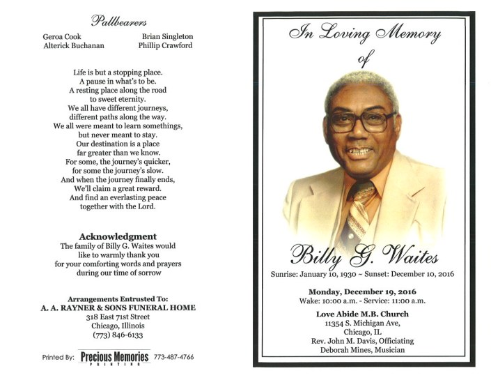 Billy G Waites Obituary Funeral Services at AA Rayner and Sons Funreal Home in Chicago Illinois