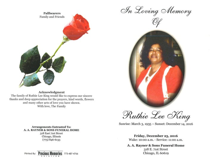 Ruthie Lee King Obituary