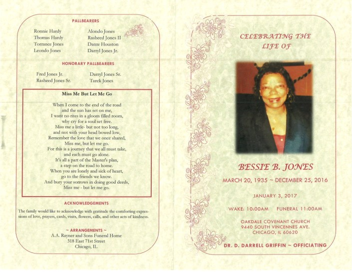Bessie B Jones Obituary
