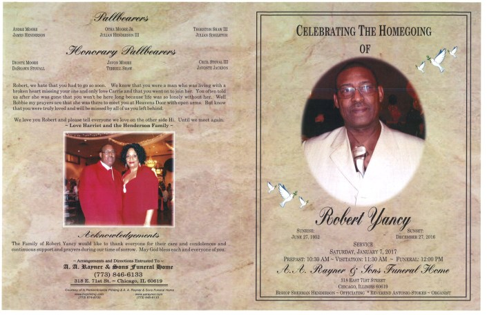Robert Yancy Obituary