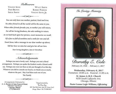 Dorothy E Cole Obituary