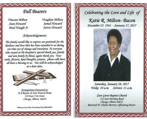 Katie R Milton Bacon Obituary