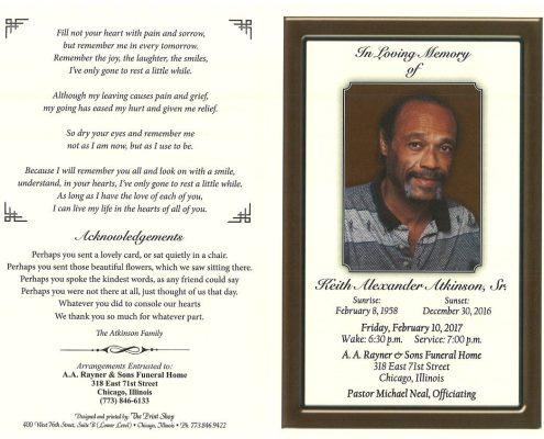 Keith Alexander Atkinson Sr Obituary
