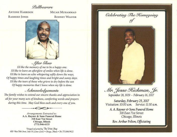 Mr Jesse Hickman Jr Obituary