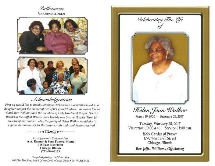 Helen Jean Walker Obituary