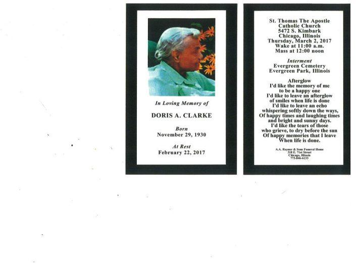 Doris A Clarke Obituary