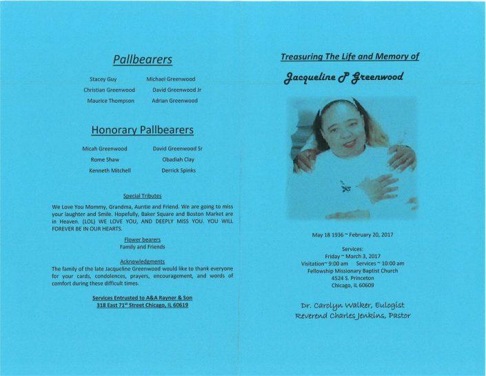 Jacqueline Greenwood Obituary