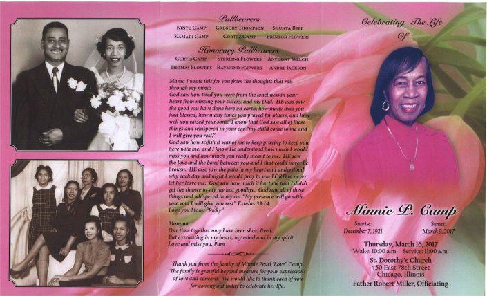 Minnie P Camp Obituary