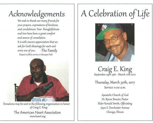 Craig E King Obituary