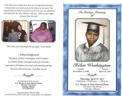 Helen Washington Obituary