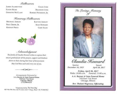 Claudia Howard Obituary
