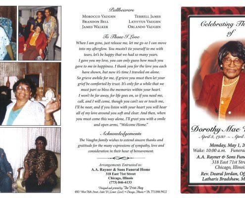 Dorothy Mae Vaughn Obituary