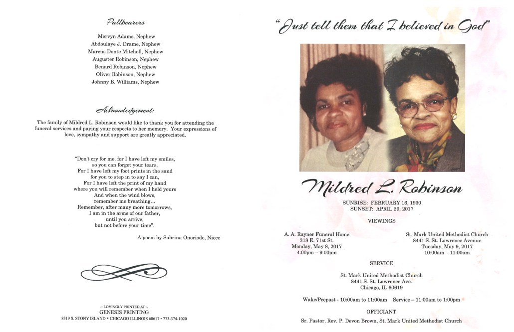 Mildred L Robinson Obituary
