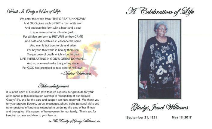 Gladys Jewel Williams Obituary