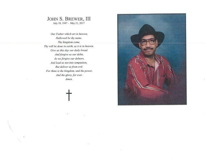 John S Brewer III Obituary