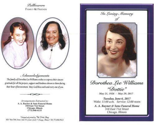 Dorothea Lee Williams Obituary