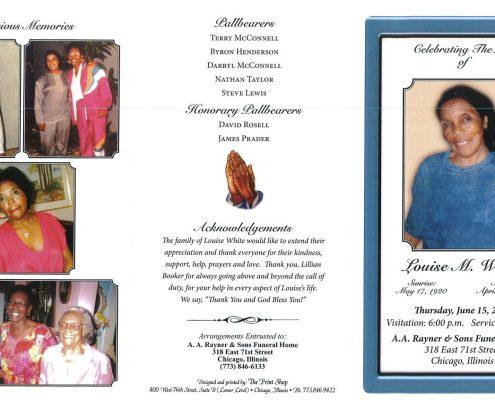 Louise M White Obituary