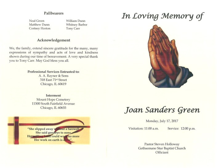 Joan Sanders Green Obituary
