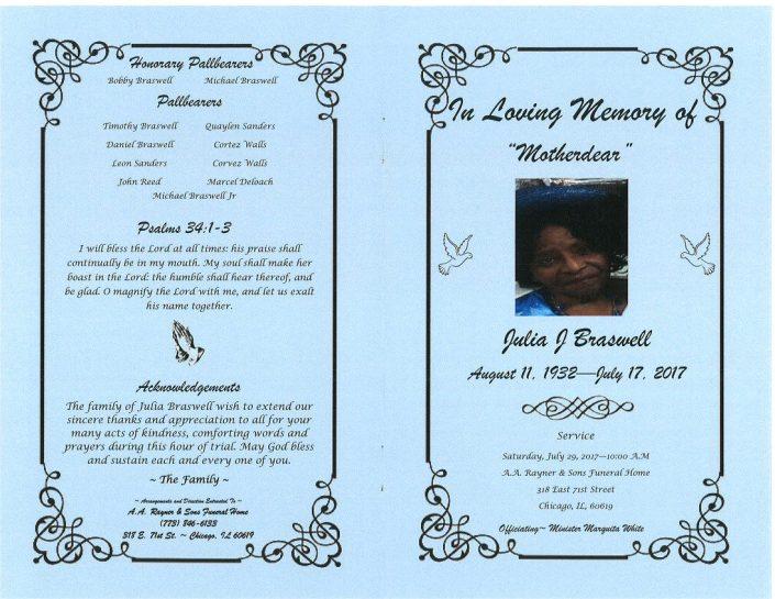 Julia J Braswell Obituary
