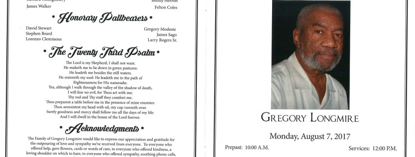 Gregory Longmire Obituary