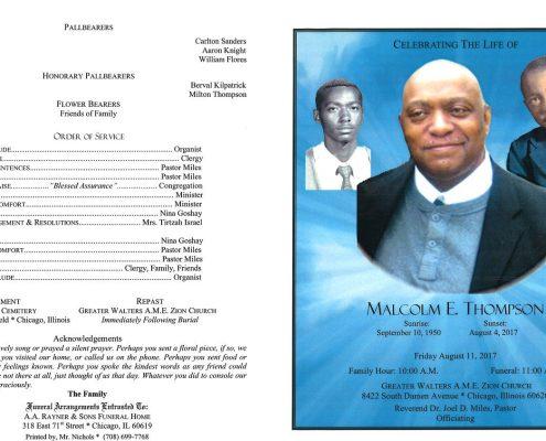 Malcolm E Thompson Obituary