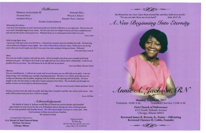 Annie A Jackson RN Obituary