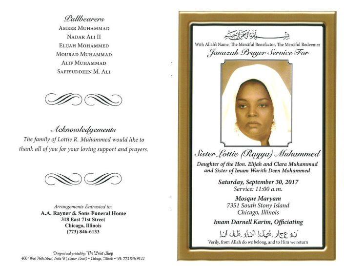 Sister Lottie Rayya Muhammed Obituary