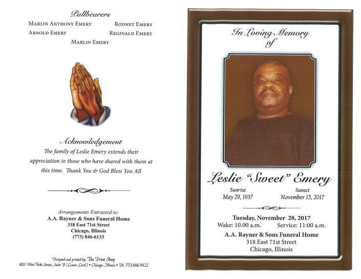 Leslie Sweet Emery Obituary
