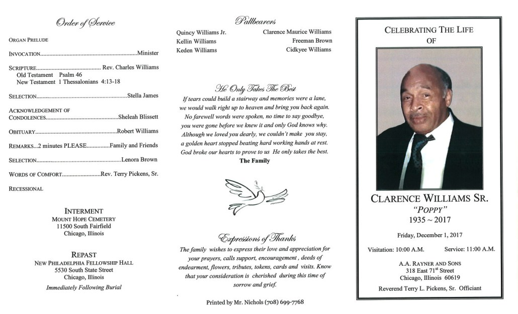 Clarence Williams Sr Obituary