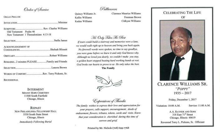 Clarence Williams Sr Obituary