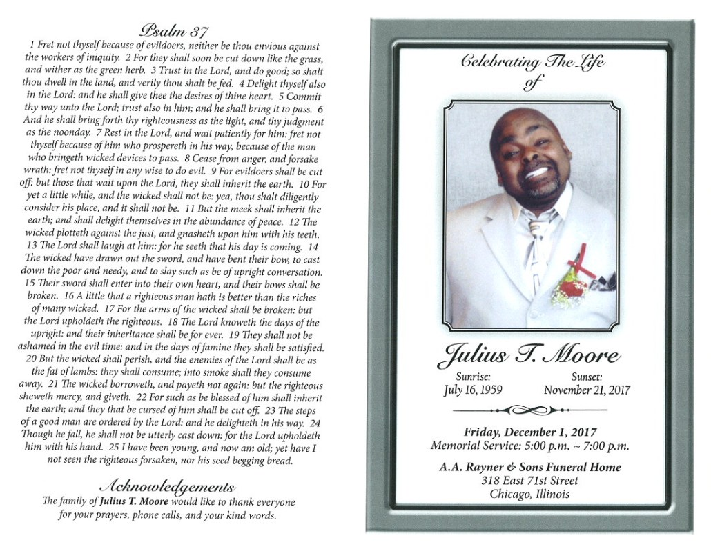 Julius T Moore Obituary