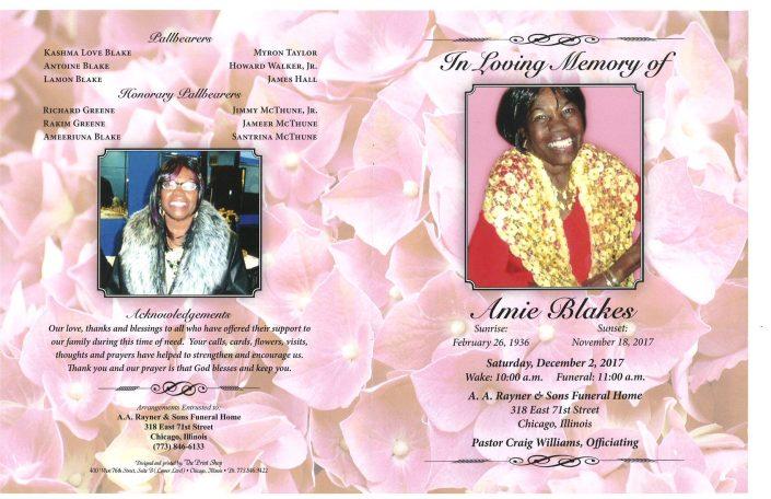 Amie Blakes Obituary