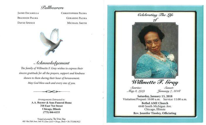 Willmette F Gray Obituary