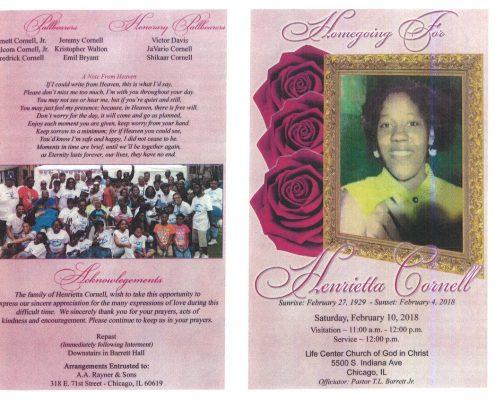 Henrietta Cornell Obituary