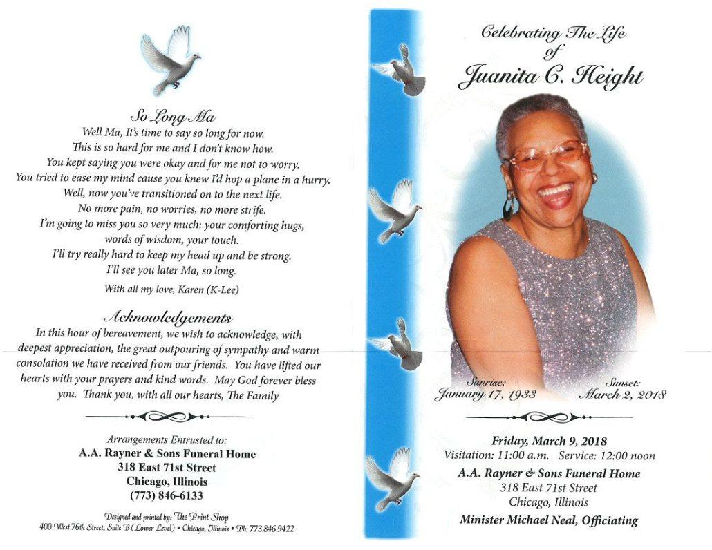 Juanita C Height Obituary
