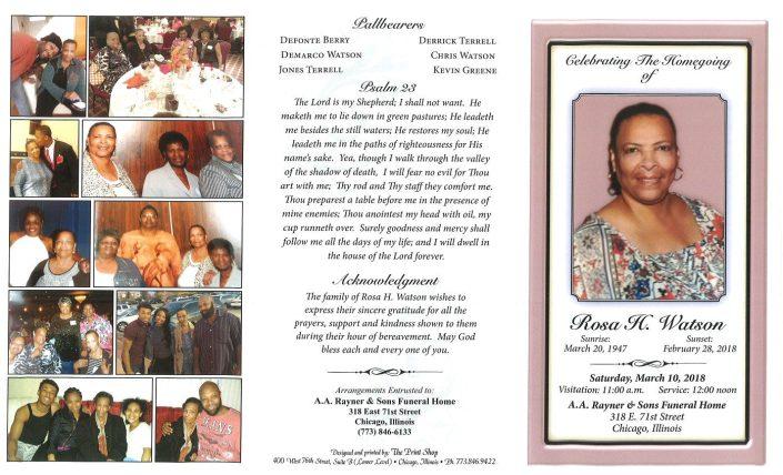 Rosa H Watson Obituary