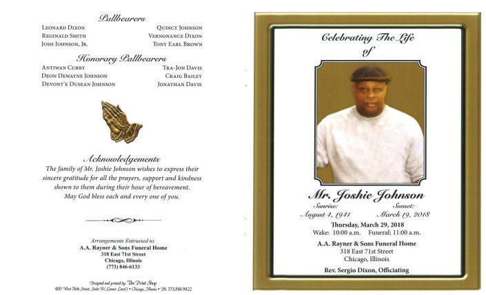 Mr Joshie Johnson Obituary