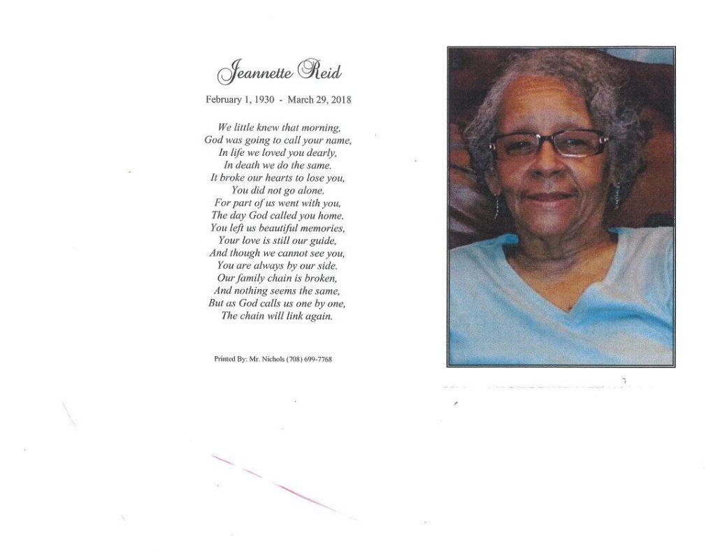 Jeannette Reid Obituary