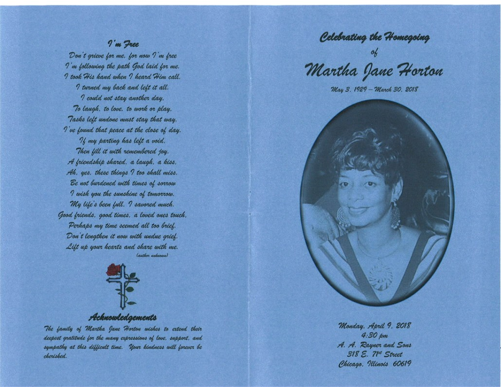 Martha Jane Horton Obituary AA Ryaner and Sons funeral Home Chicago
