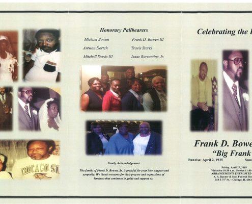 Frank D Bowen Sr Obituary