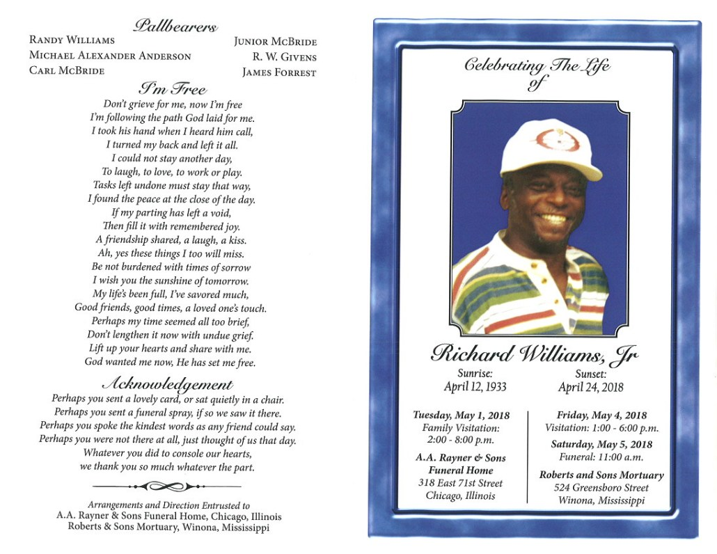 Richard Williams Jr obituary AA rayner and Sons Funeral Home