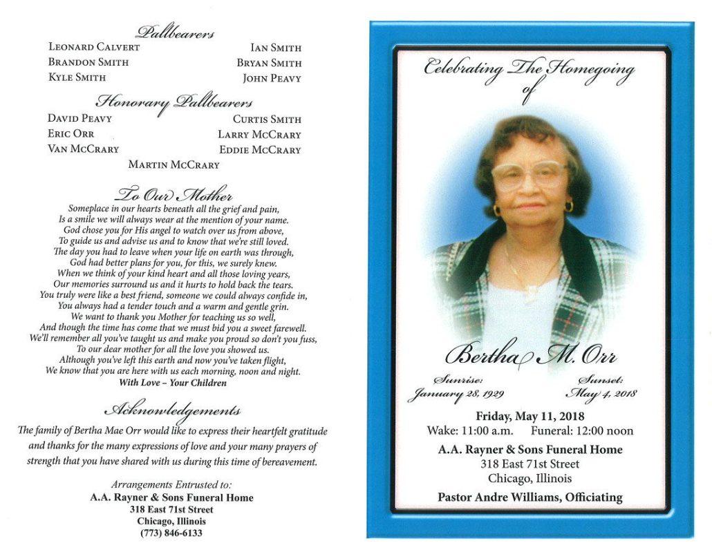 Bertha M Orr obituary