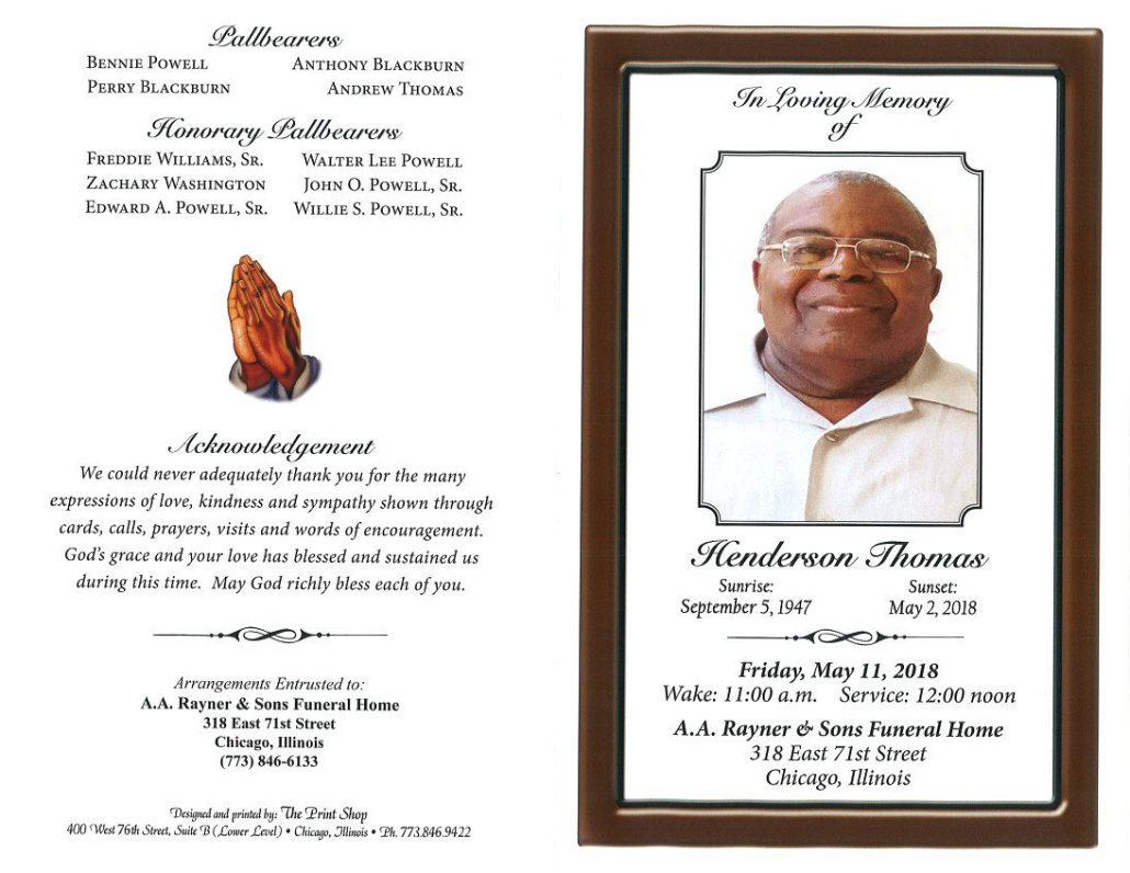 Henderson Thomas Obituary