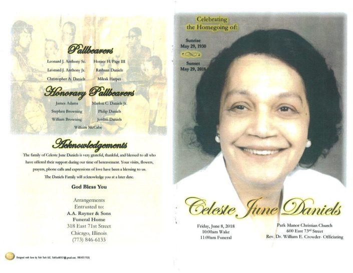 Celeste June Daniels Obituary